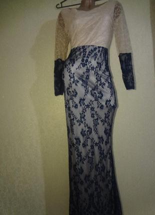 Красивое длинное вечернее гипюровое платье размер s/м