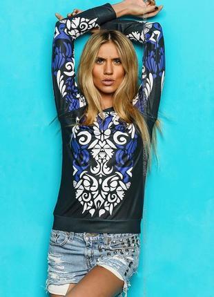 Уникальный принт!  кофта блуза свитшот swag узор от sk-house. графит с белым синим принтом
