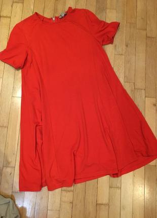 Короткое летящее красное платье zara вискоза а силует