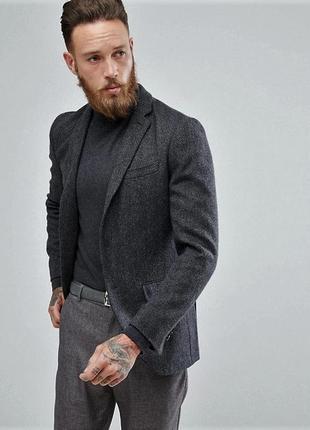 Мужской твидовый пиджак блейзер на выскоий рост