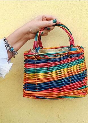 Разноцветная сумка корзина от zara
