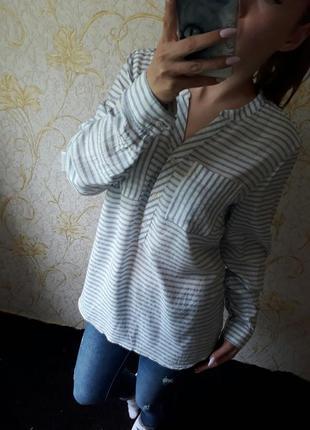 Шикарная блузка рубашка в полоску с карманами на груди