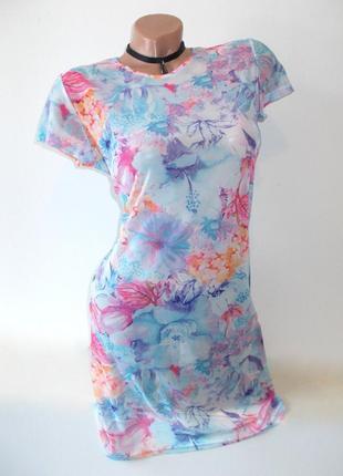 Total sale!!! распродажа стартовала! актуальная длинная футболка туника сетка сеточка