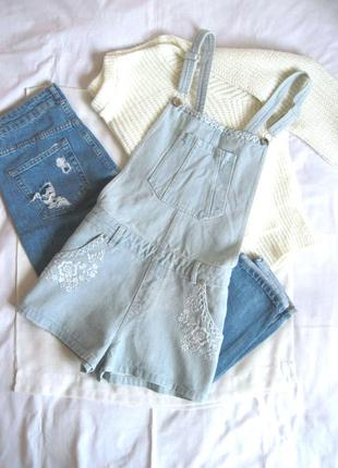 Винтажный джинсовый комбинезон с вышивкой miss selfridge