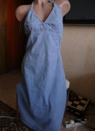 Длинный джинсовый сарафан