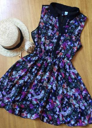 Летнее легкое платье цветочный принт h&m