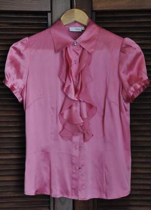 Модная блузка с двойными рюшами, шелк