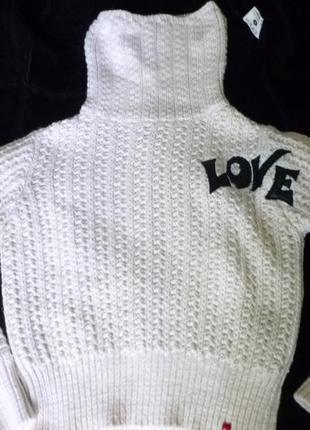 Теплый крупной вязки укороченный свитер оверсайз oversize miss sixty