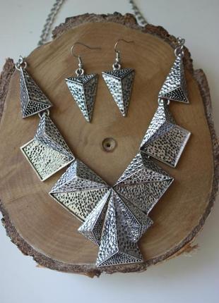 Набор бижутерии колье ожерелье и серьги серёжки геометрия бохо