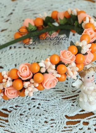 Веночек на голову персиковый с абрикосовым