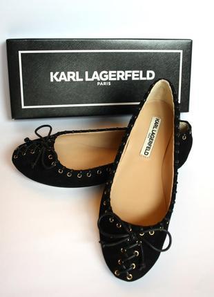 Замшевые балетки туфли karl lagerfeld