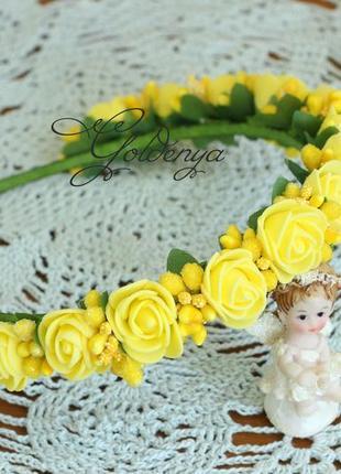 Желтый веночек на голову