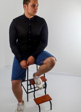 Dolce&gabbana чёрная рубашка в сетку классического кроя, сетчатая сорочка d&g