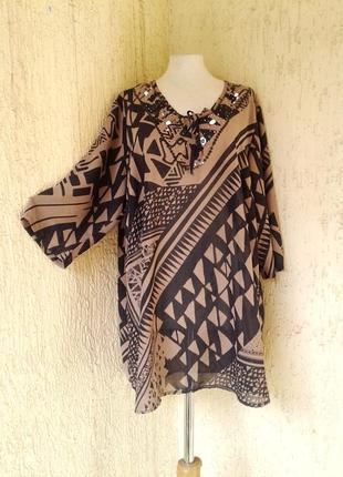 Шифоновая  блуза- туника песочного цвета,3хl -5xl.