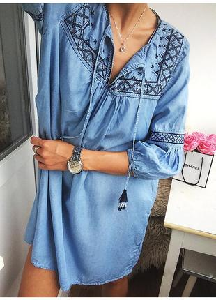 Роскошное джинсовое платье - туника из лиоцелла с вышивкой от h&m