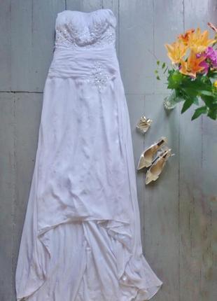 Воздушное шифоновое свадебное платье со шлейфом