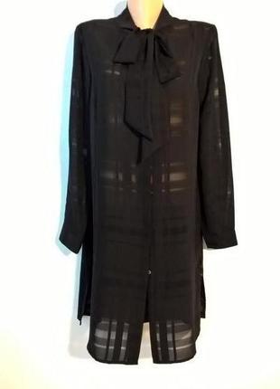 Черная длинная рубашка платье с бантом