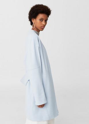 Тренд. нежное пальто оверсайз (халат/жакет) mango, 80% шерсть. небесно-голубое м и l
