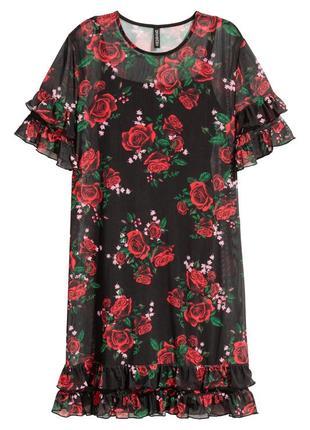 Короткое, черное платье-сетка в цветочный принт,  размер 34xs,  h&m.
