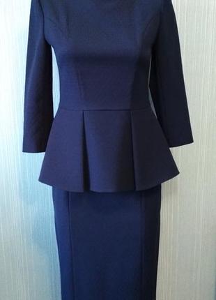 Шикарный женский темно-синий костюм natali bolgar, р.42
