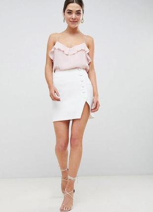 Мини-юбка с боковыми пуговицами с разрезом спереди asos design tall