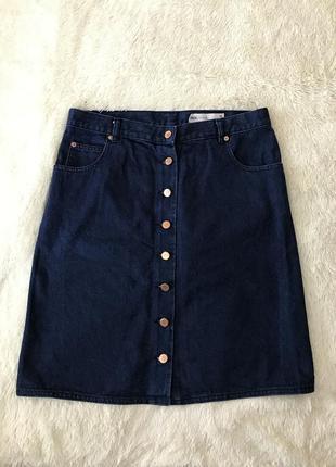 Стильная джинсовая юбка миди мини темно-синий деним стиль мода 2018 asos размер m l