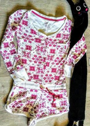Клевый домашний кимбинезон с шортами пижама. 100%коттон