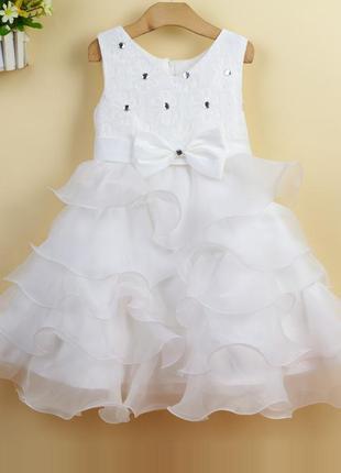 Размер 100-150 детское нарядное пышное платье камни для девочки1