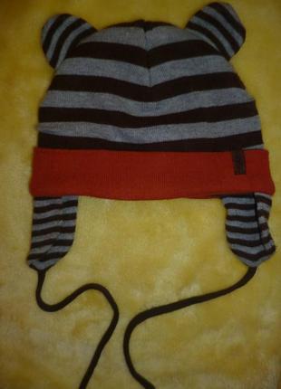 Шапка детская шапочка на флисе с завязками, весна-осень 6-12 мес(будет дольше)