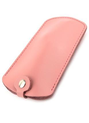 Ключница на кнопках кожаная d-26 (розовая)