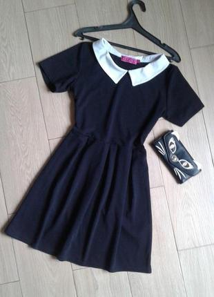 Черное платье с воротником купить украина