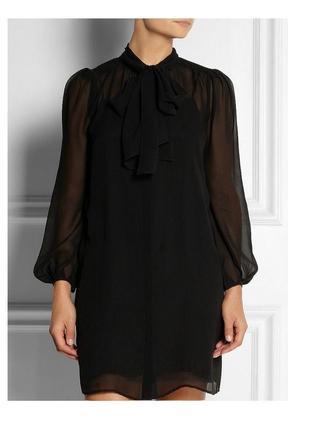 Черное шифоновое платье со стречевой подкладкой 18-20 uk