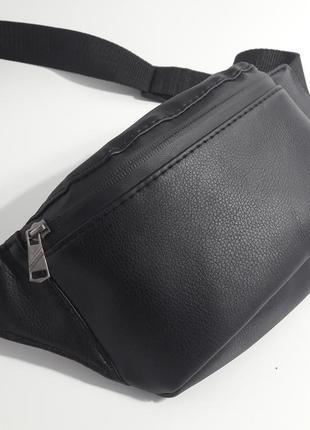 Водонепроницаемая мужская бананка сумка на пояс черная pu кожа