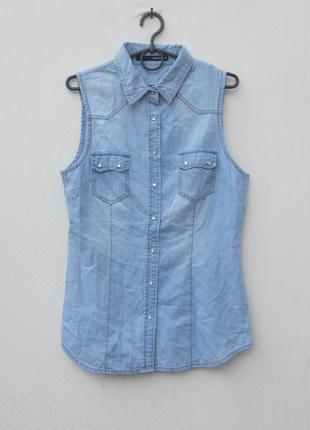 Летняя джинсовая блузка без рукавов