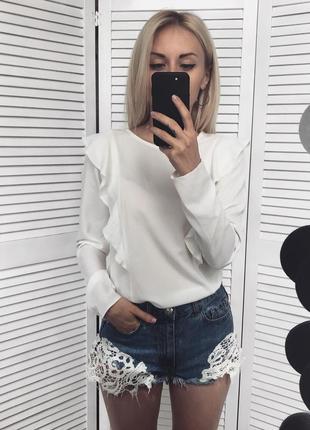 Знижки!🔥молочна блузка з рюшами, дуже симпатична)