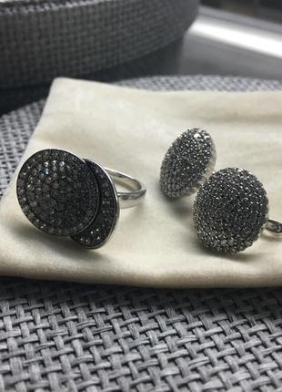 Серебряный набор с камнями (серьги + кольцо) (бесплатная доставка)