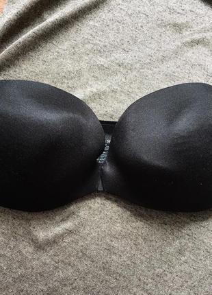 Чёрный гладкий бюстгальтер лифчик без шлеек vs victoria secret