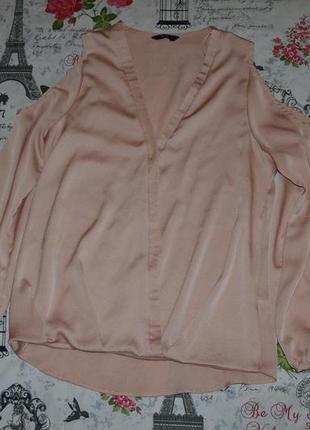 Трендовая блуза на запах с открытыми плечами f&f 12 размер