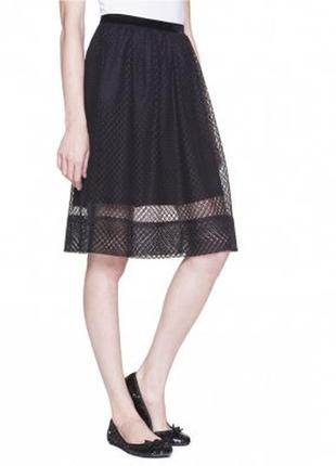 Черная кружевная юбка benetton - размер l