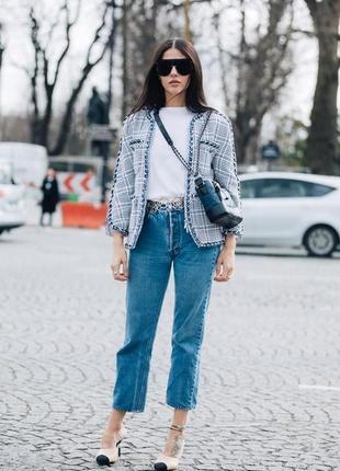 Укороченые джинсы высокая талия/посадка mom мом джинс с бахромой бойфренд