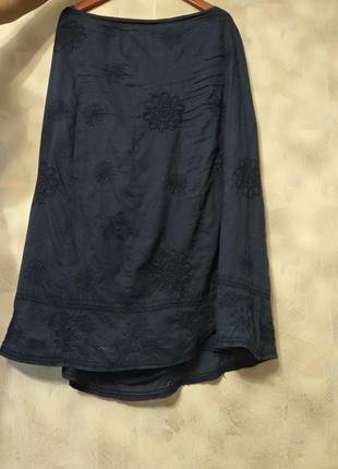 Синя спідниця / юбка у вишиті сині квіти