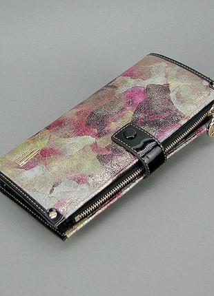 Женский кожаный цветной кошелек купюрник вертикальный на кнопке