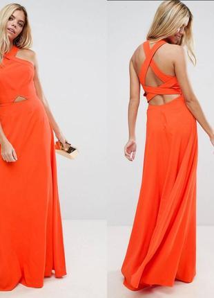 Оранжевое платье макси asos