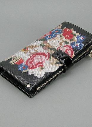 Женский кожаный кошелек купюрник вертикальный цветной