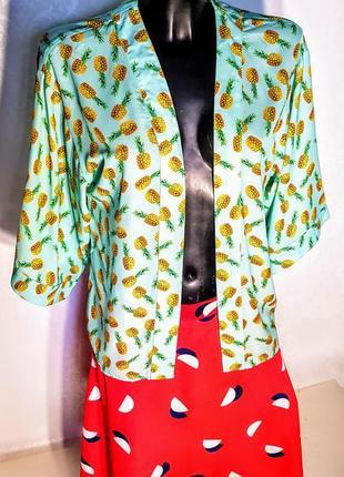 Шикарная летняя накидка- жакет кимоно мятная с принтом  ананас