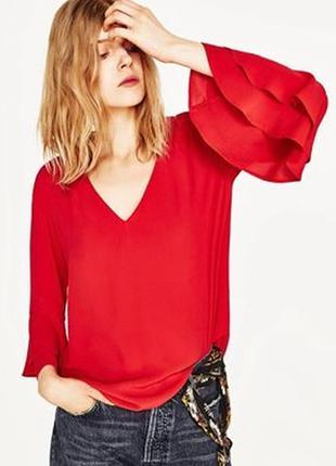 Zara блуза с воланами на рукавах s и l