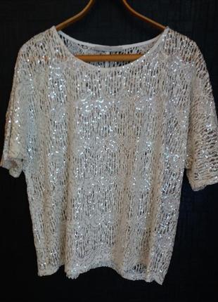 Блуза футболка с пайетками
