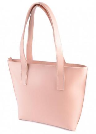 Розовая вместительная сумка шоппер с длинными ручками