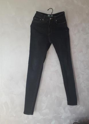 Темно синие джинсы скинни с высокой посадкой