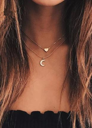 Двойная цепочка чокер с подвесками луна и сердце
